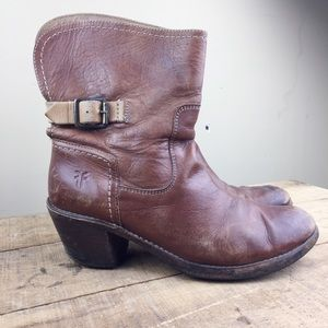 Frye leather boots Sz 7.5 brown *damage* bootie